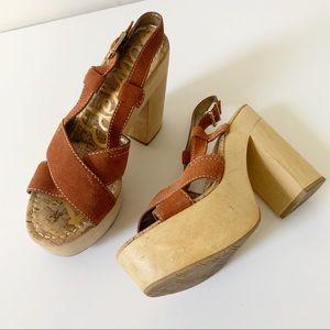 Sam Edelman brown leather platform sandals